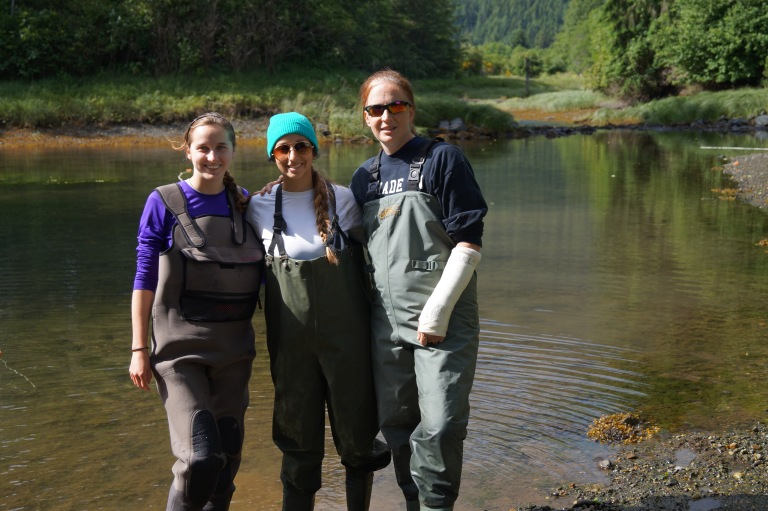 High school science teachers Samantha Killian (left) and Kim Hendrix (right) doing field work in the summer of 2014. Lab technician Racine Rangel in the middle.